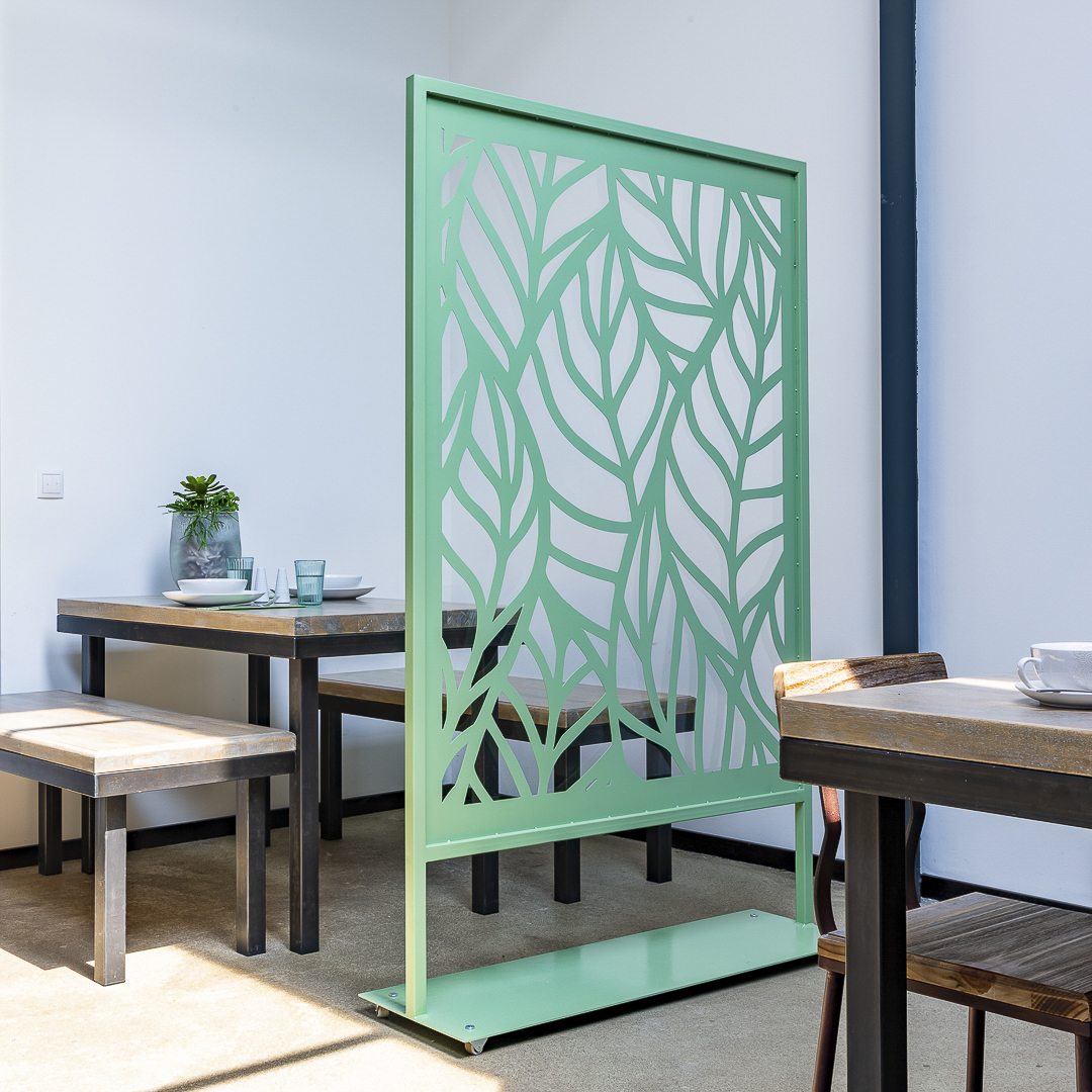 Room Divider, partioner, seperator, health protection, metal, acrylic glass, steel, sage, leaf, decoration