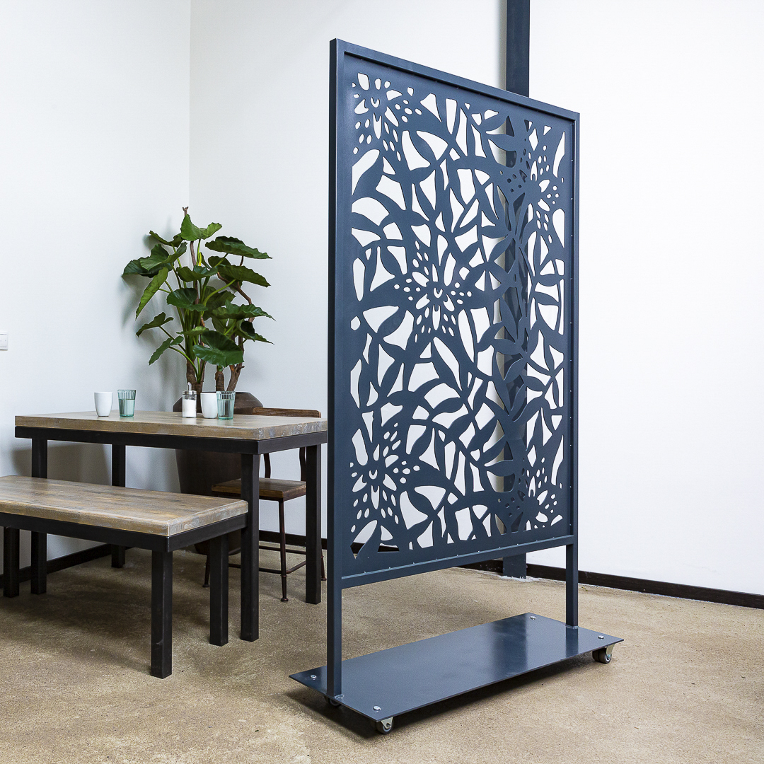 Room Divider, partioner, seperator, health protection, metal, acrylic glass, steel, flowers, decoration