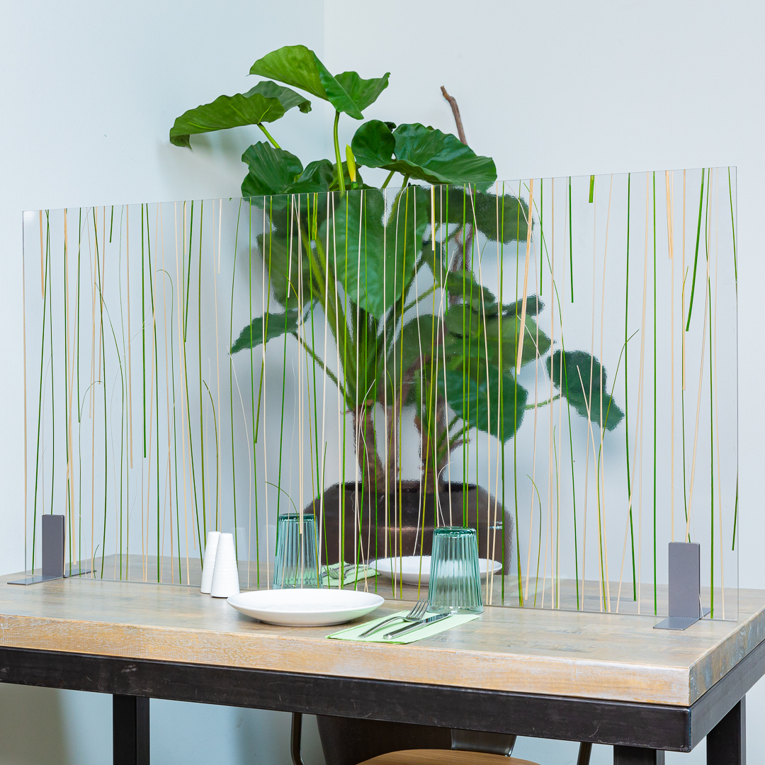 Tischtrenner, Arcylglas, Trenner breit, Acrylglas mit Gras