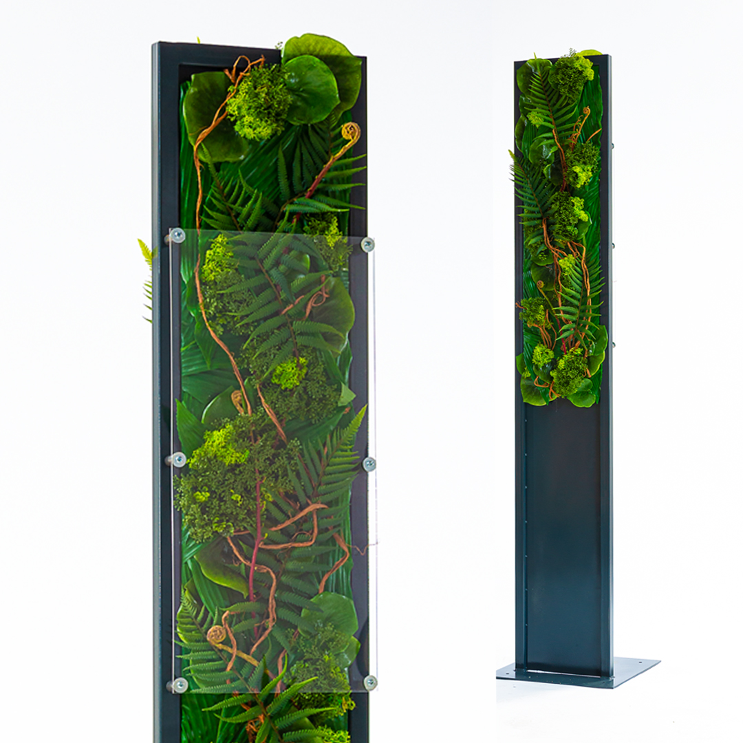 Desinfection, hand sanitizer, fern, artifical plants, metal, anthrazit, stand, tall, acrylic glass