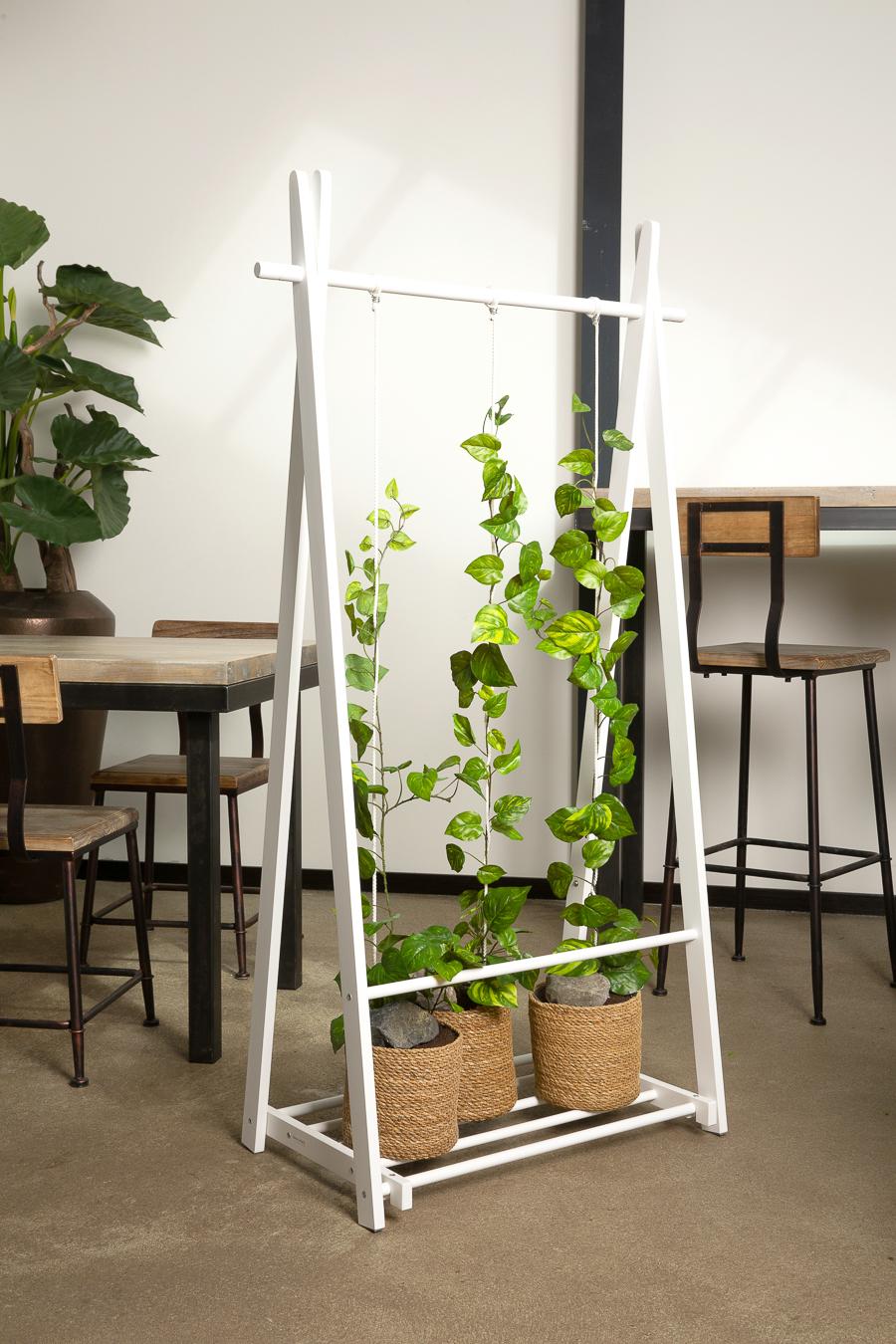 Raumteiler, Ansteckungsschutz, Holz, künstliche Pflanzen, Dekoration, Ranken, Raumtrenner