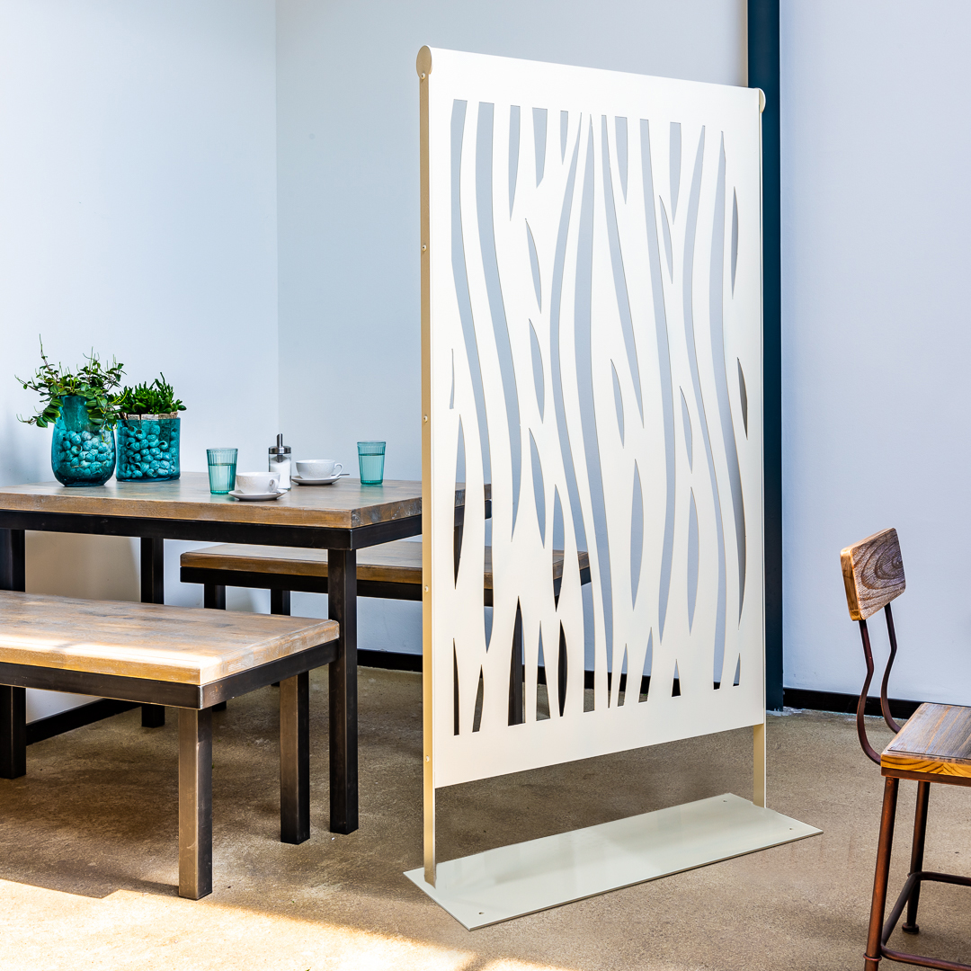 Room Divider, partioner, seperator, health protection, metal, acrylic glass, steel, off-white, zebra, decoration